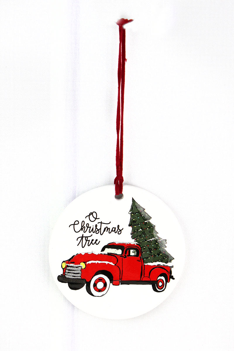 O Christmas Tree Truck Porcelain Ornament, 3.5""