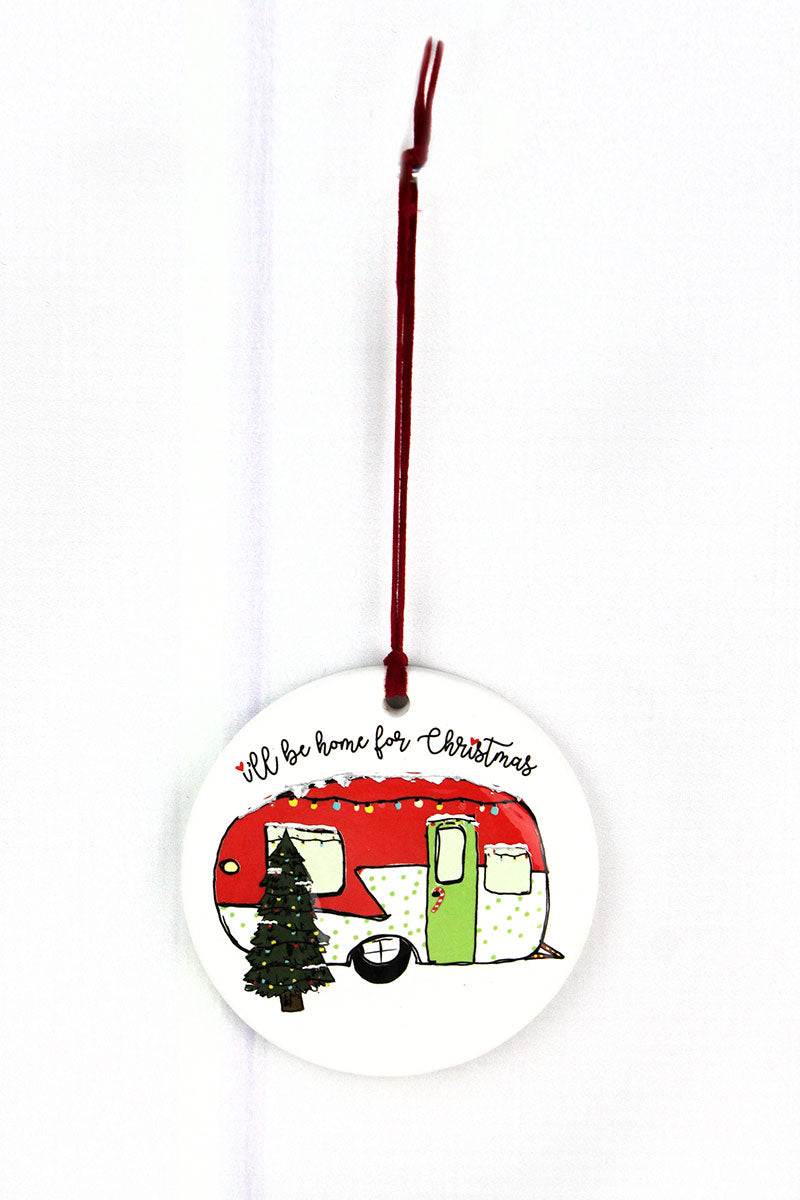 I'll Be Home For Christmas Camper Porcelain Ornament, 3.5""