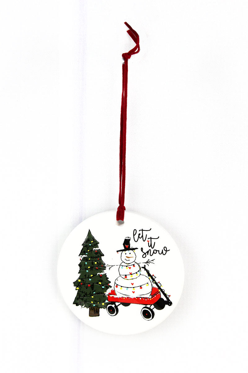 Let It Snow Snowman Porcelain Ornament, 3.5""