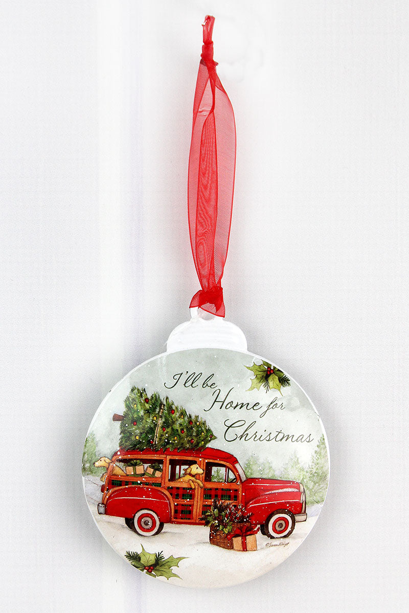 5 x 4.25 Home For Christmas Ornament