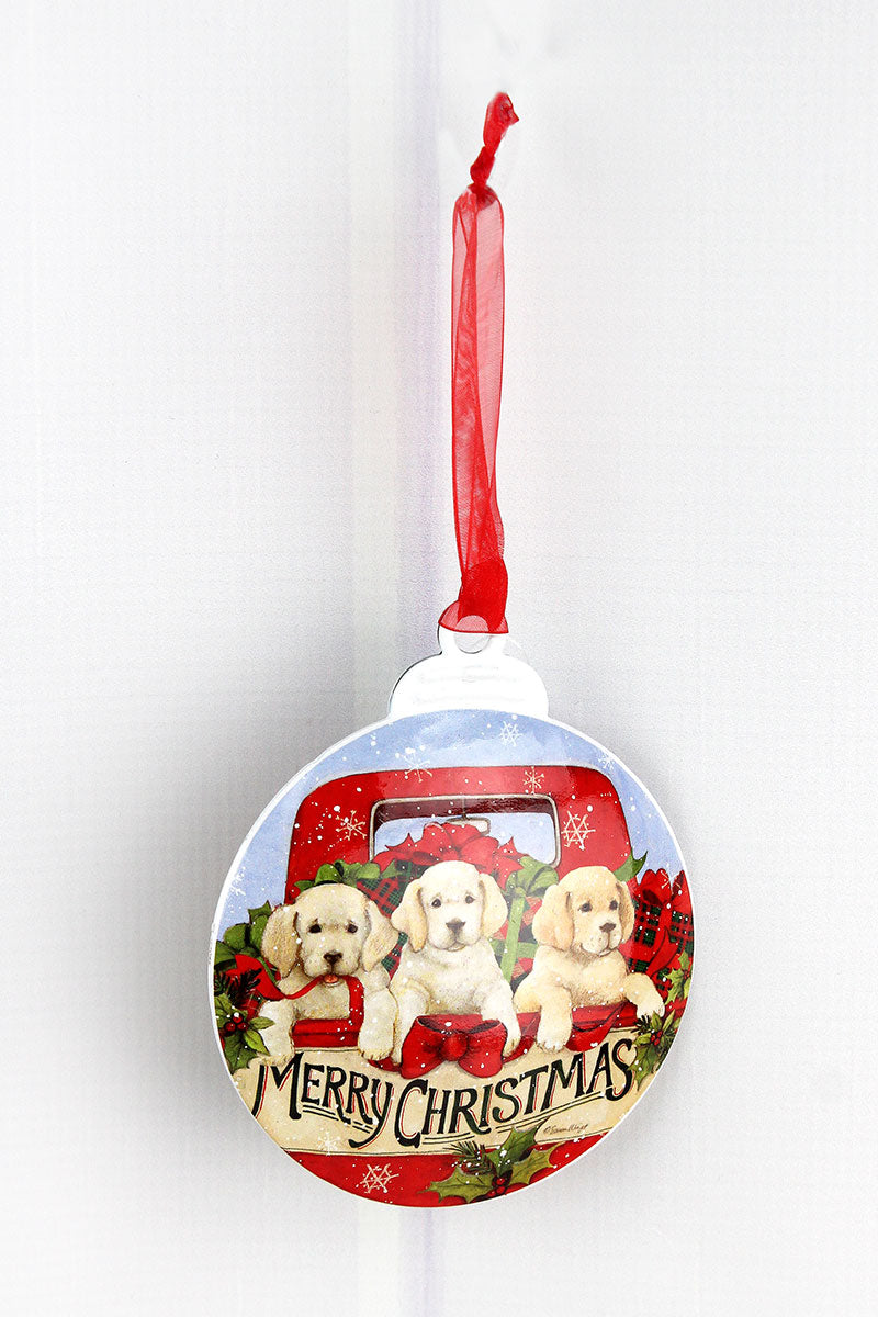 5 x 4.25 Christmas Puppies Ornament