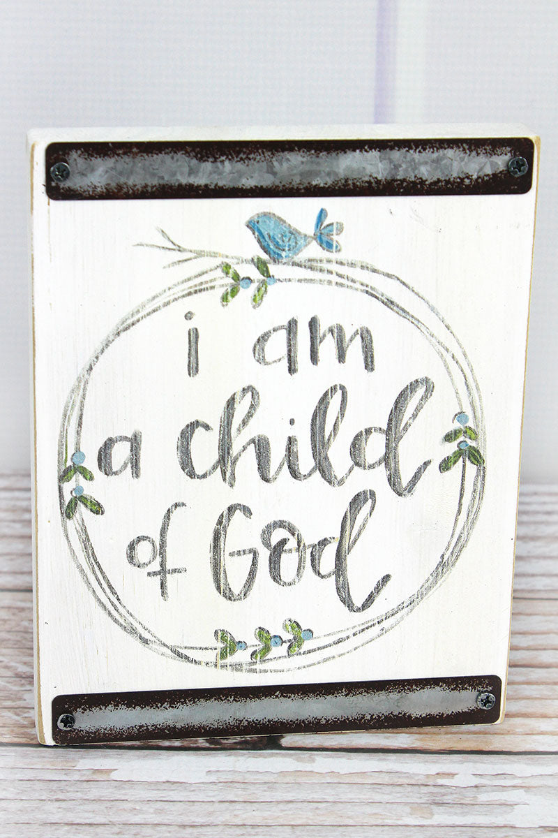 7 x 5.5 Child Of God White with Blue Baby Block
