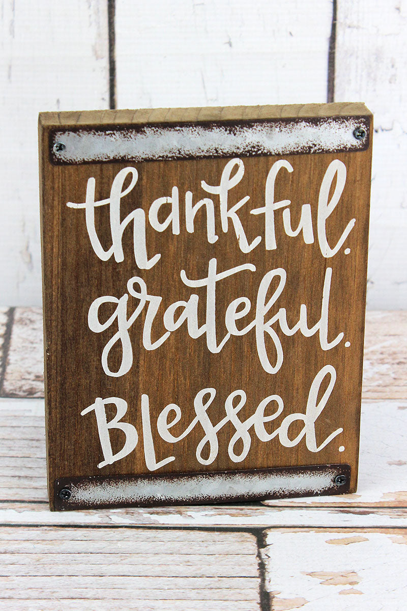 7 x 5.5 Thankful Grateful Blessed Wood Block Sign