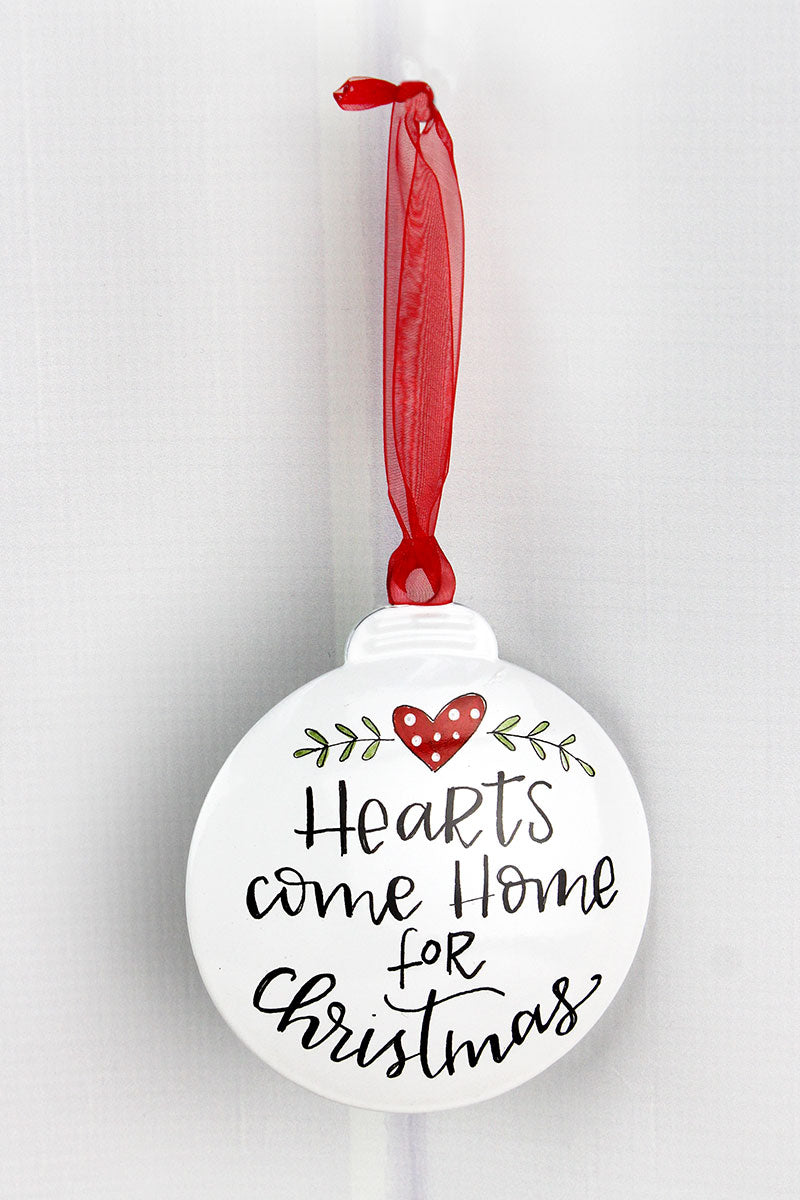 5 x 4.25 Hearts Come Home For Christmas Ornament