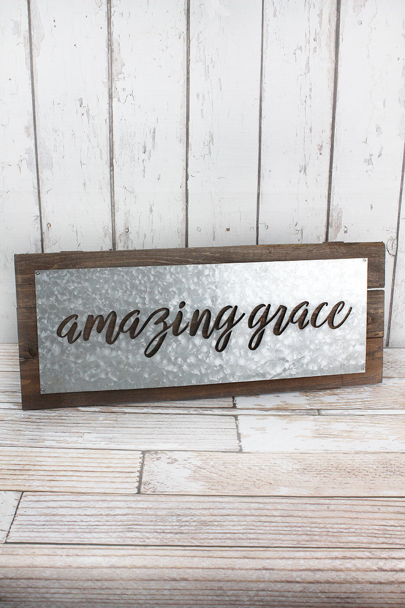 9 x 22 Amazing Grace Galvanized Metal and Wood Sign