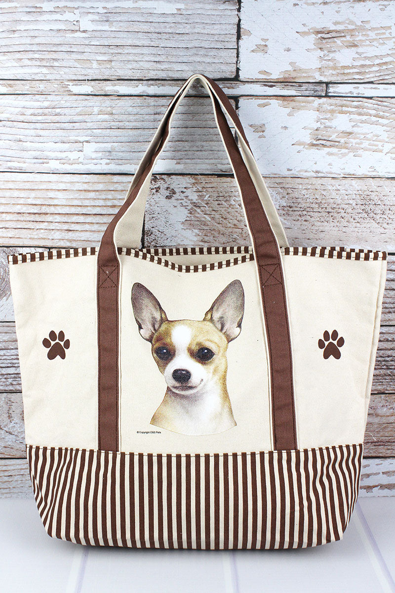 Tan Chihuahua Canvas Tote Bag