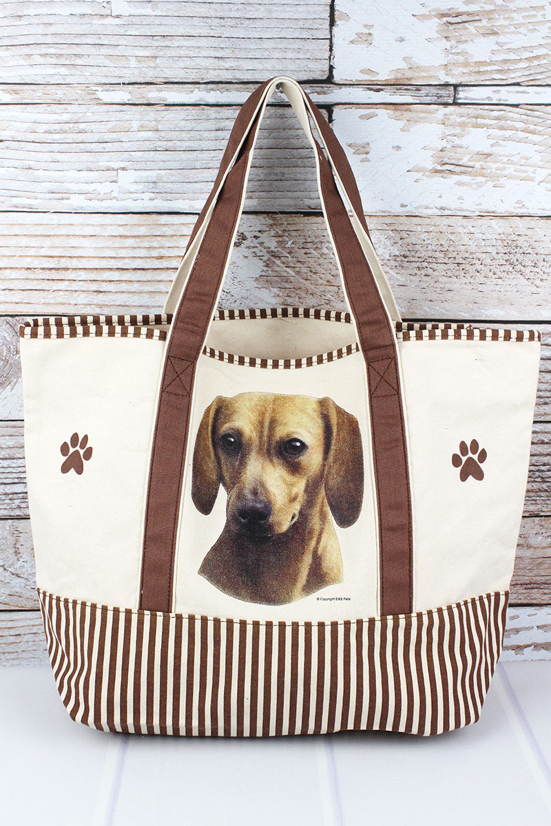 Red Dachshund Canvas Tote Bag