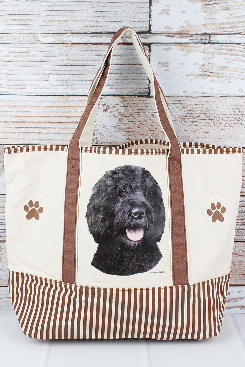Black Labradoodle Canvas Tote Bag
