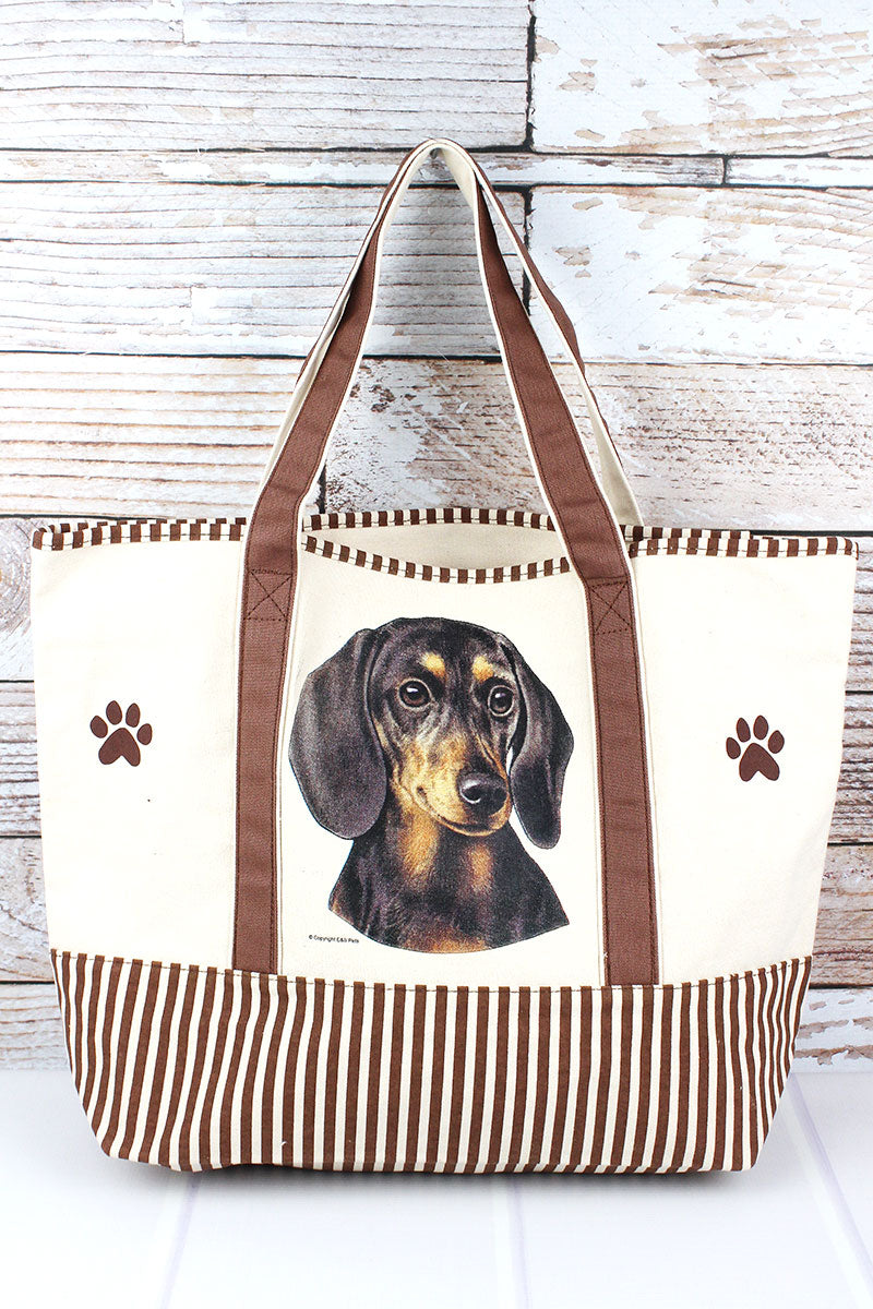 Black Dachshund Canvas Tote Bag