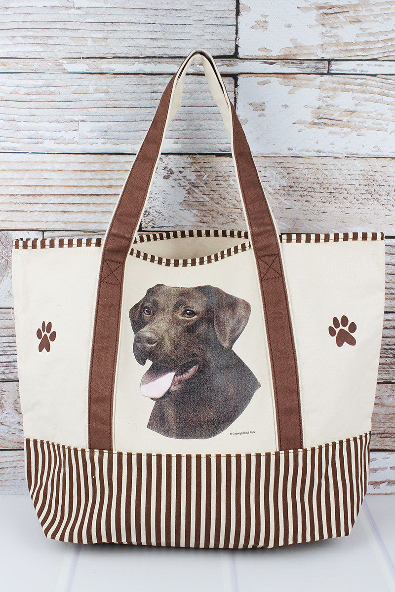 Chocolate Labrador Canvas Tote Bag