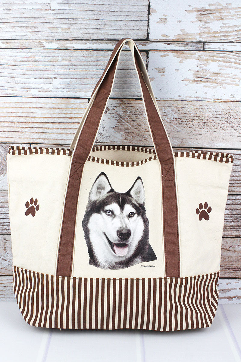 Siberian Husky Canvas Tote Bag