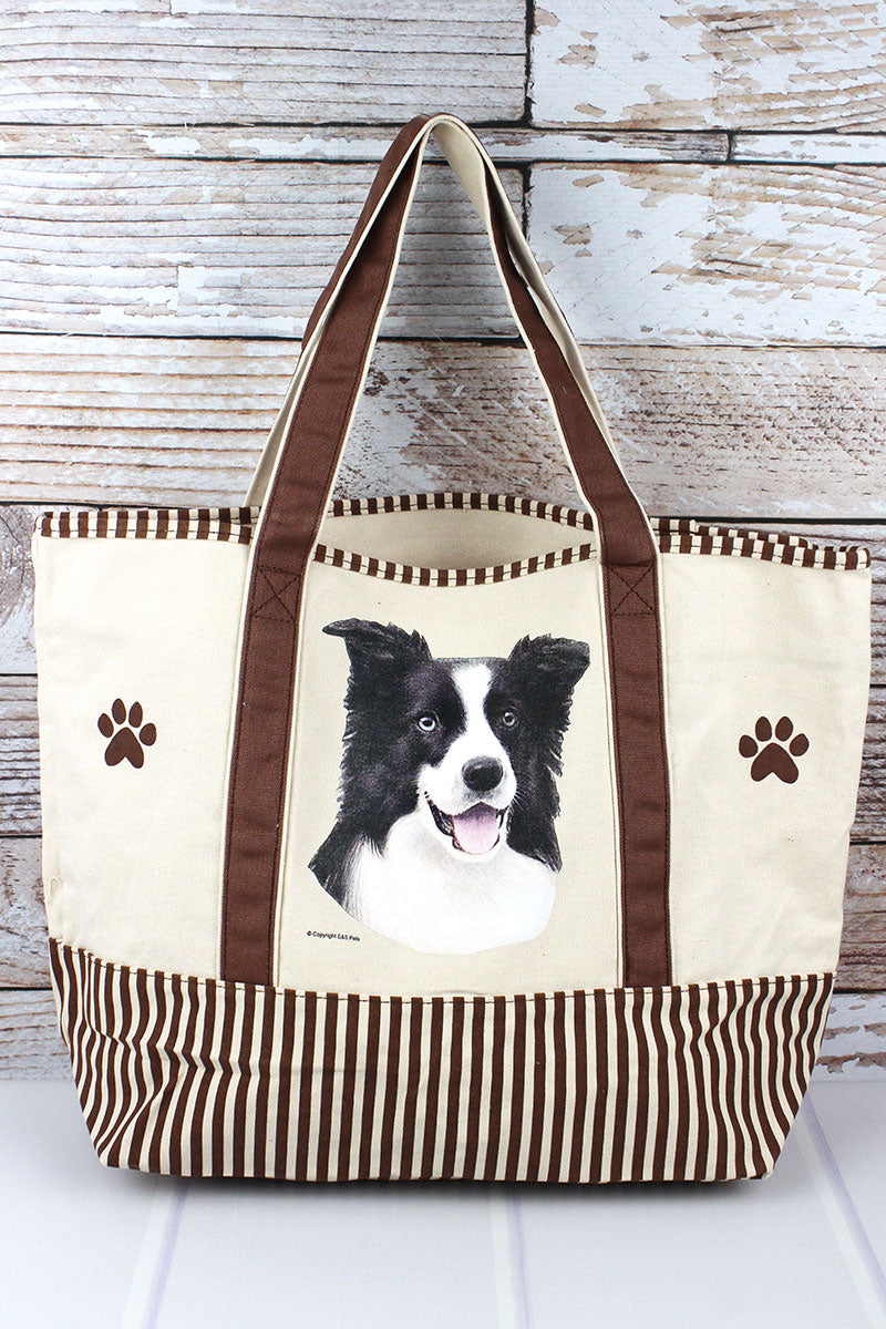 Border Collie Canvas Tote Bag