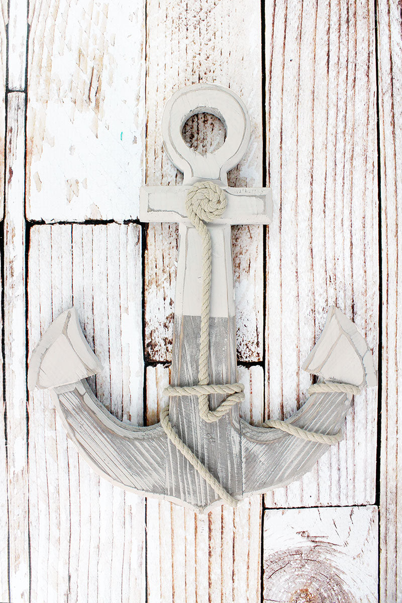 15.5 x 12.25 Rope Accented White Wood Anchor