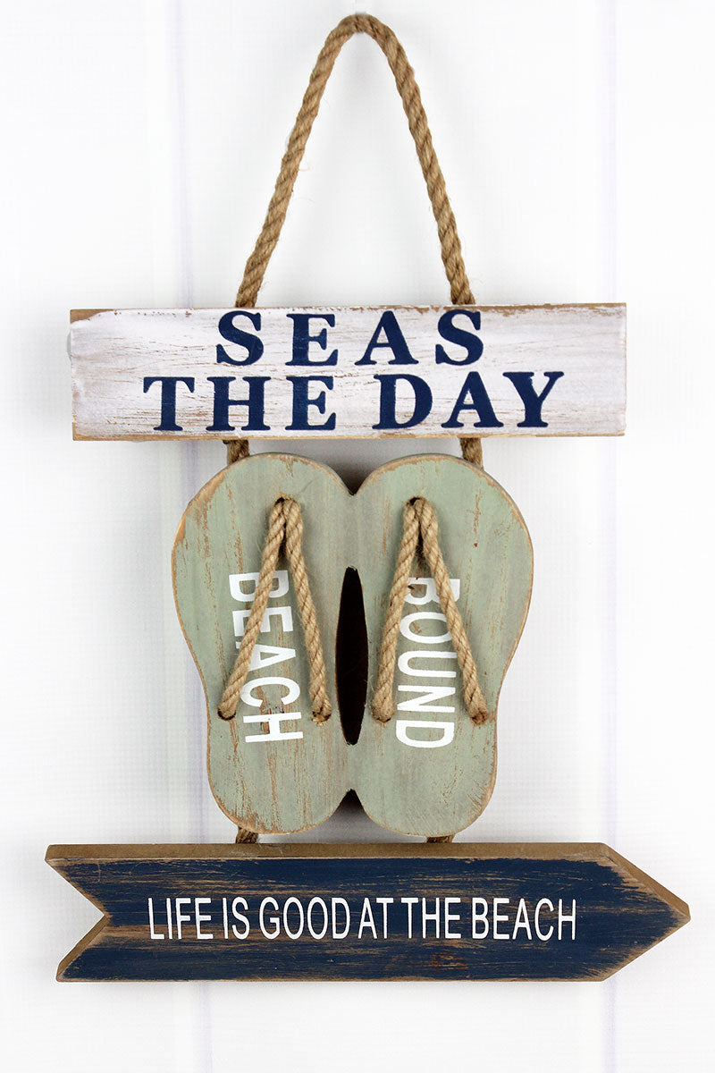 12.5 x 12 'Beach Bound' Flip Flops Wood Wall Hanging