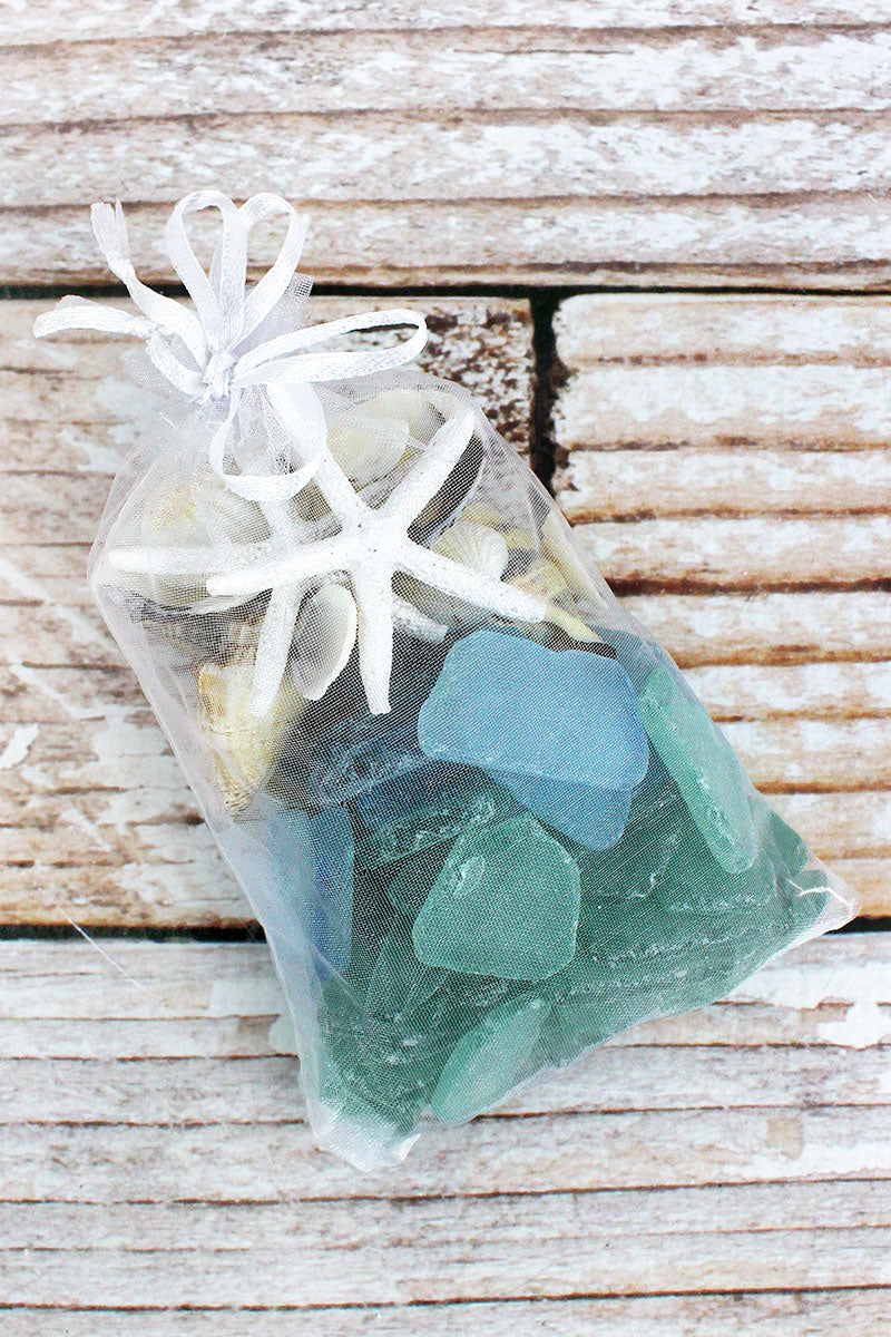 Seashells and Blue & Green Sea Glass in Tulle Bag