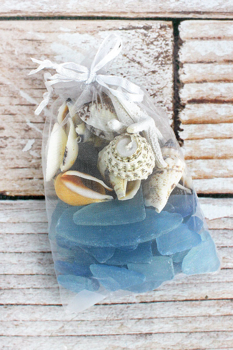 Seashells and Blue Sea Glass in Tulle Bag
