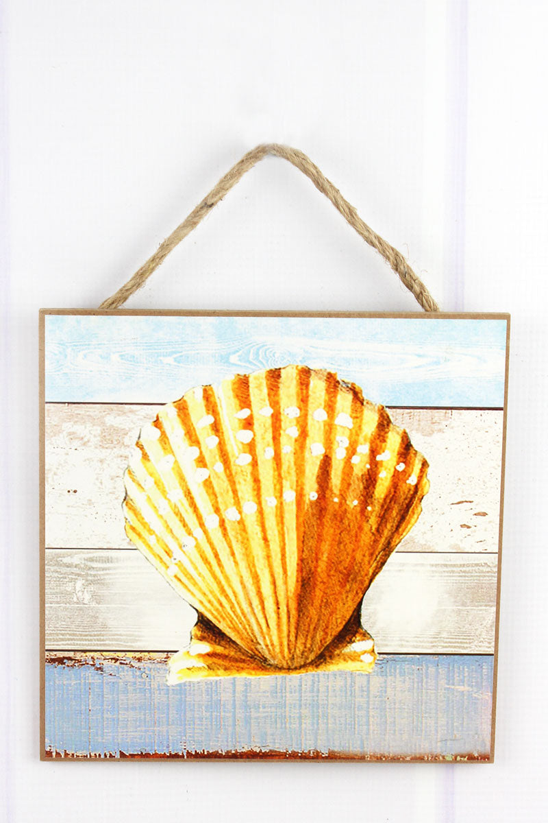 Limited Quantity! 8 x 8 Scallop Shell Wood Wall Art
