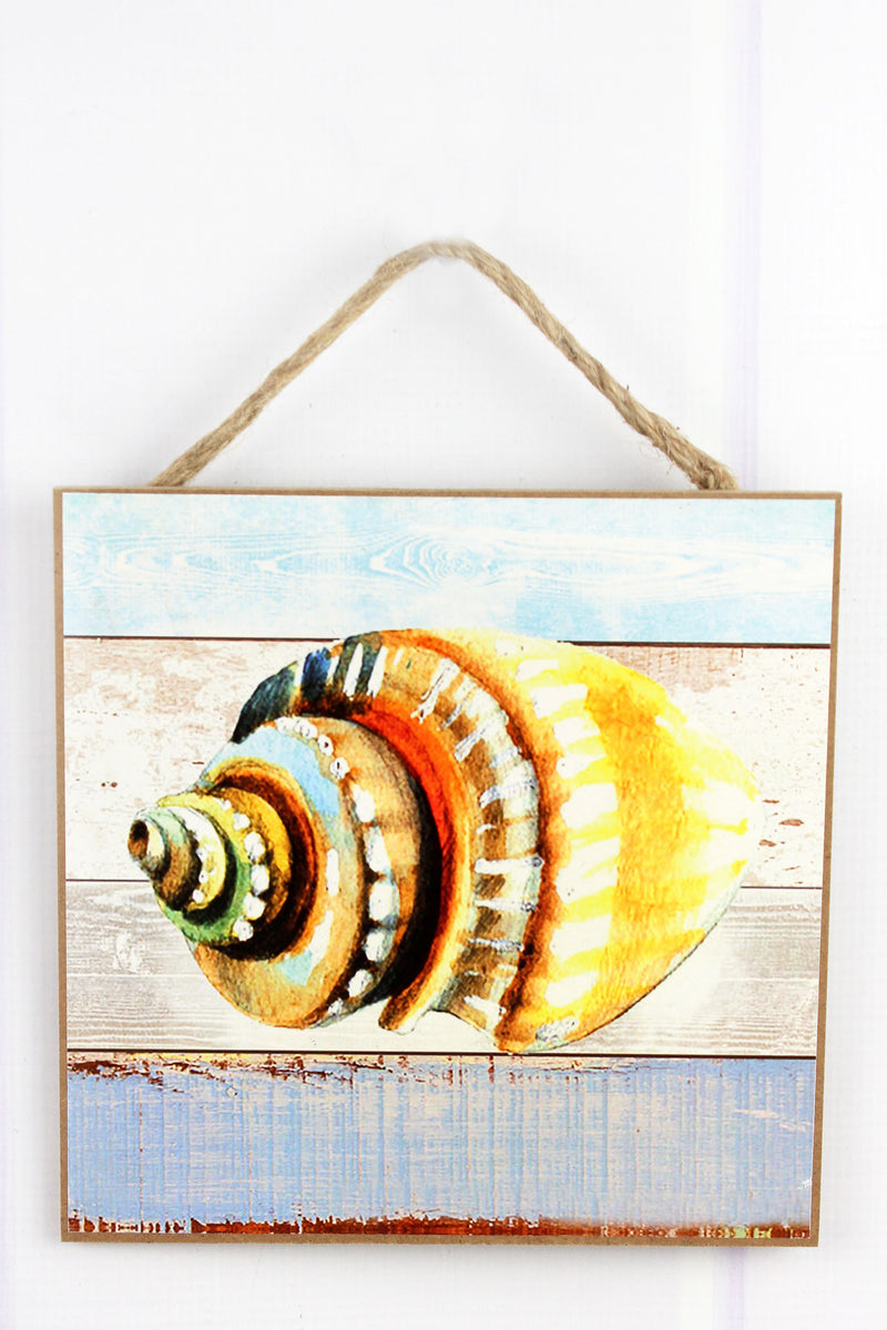 Limited Quantity! 8 x 8 Colorful Conch Shell Wood Wall Art