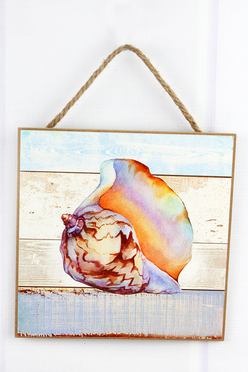 Limited Quantity! 8 x 8 Iridescent Whelk Shell Wood Wall Art