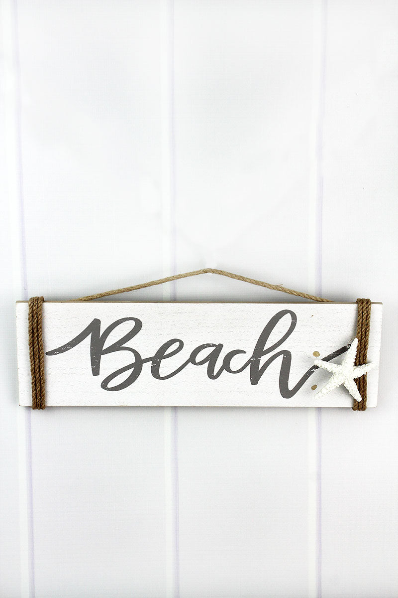 5.75 x 19 'Beach' Starfish Accented Wood Wall Sign