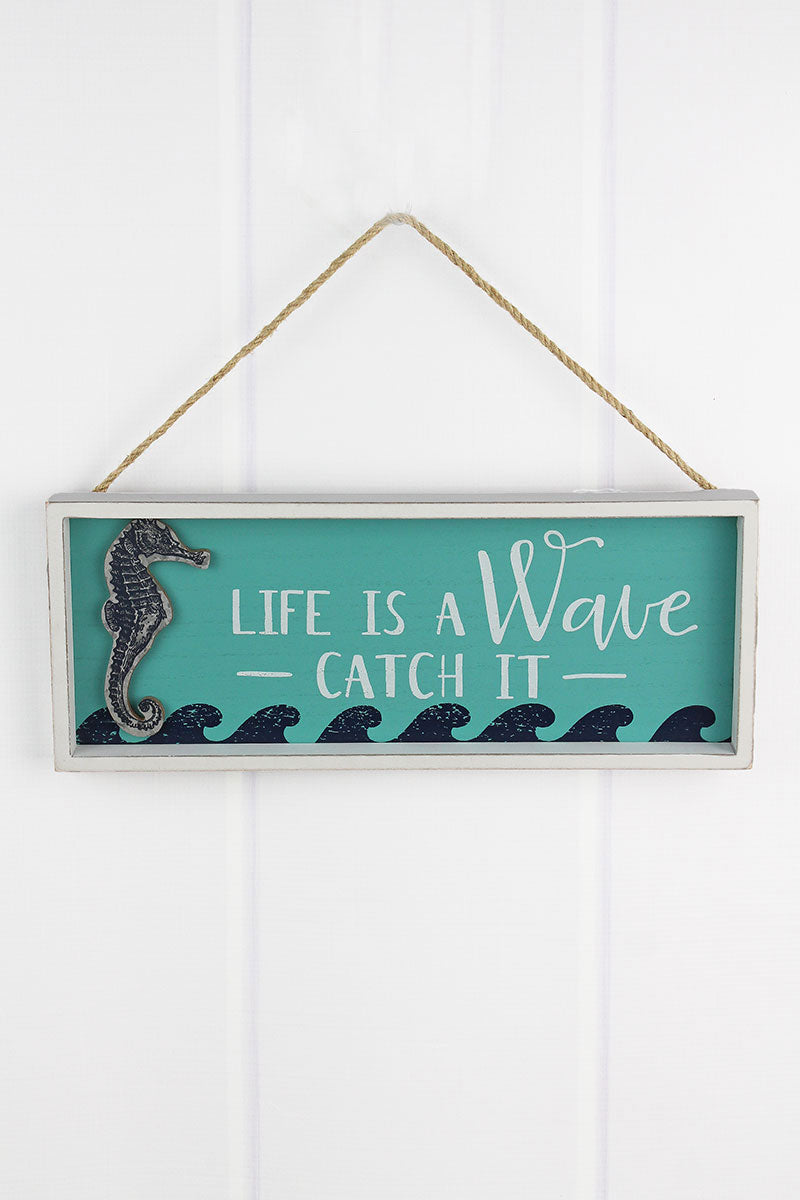 6 x 15 'Life Is A Wave' Wood Framed Wall Sign