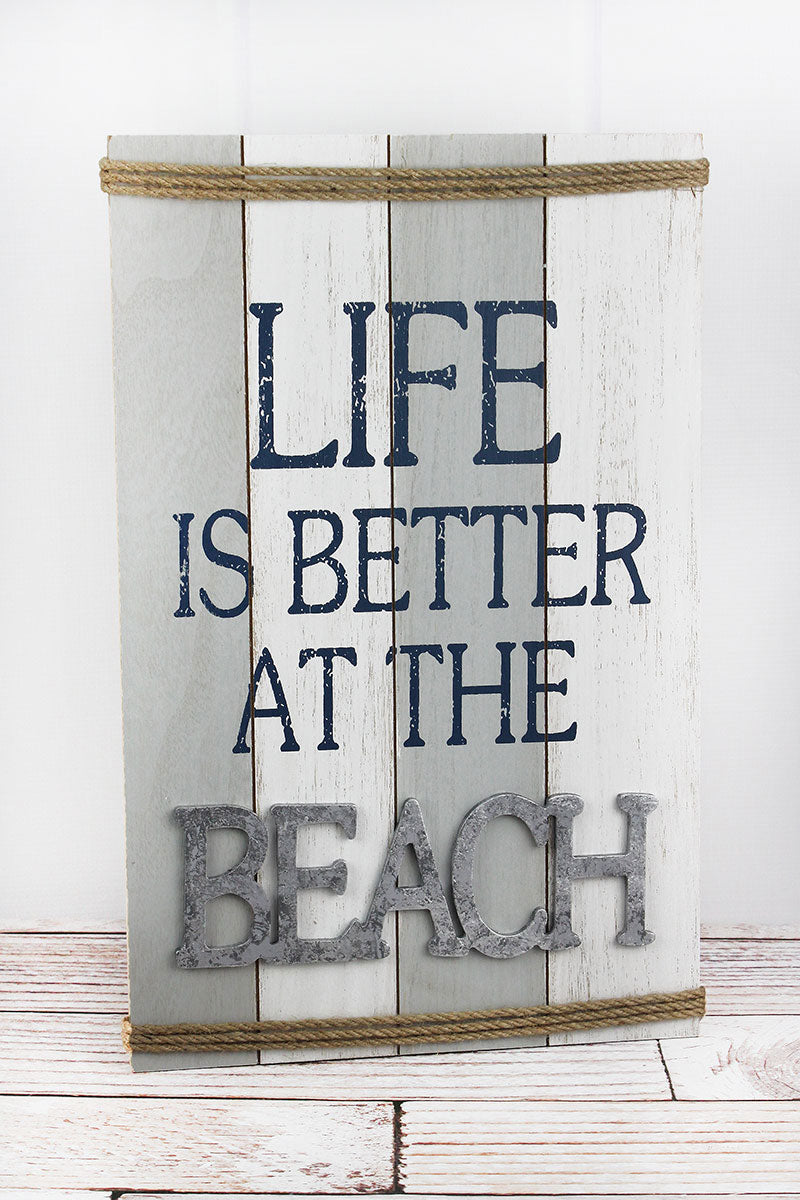 18.75 x 12 'Better At The Beach' Rope Accented Wood Wall Sign