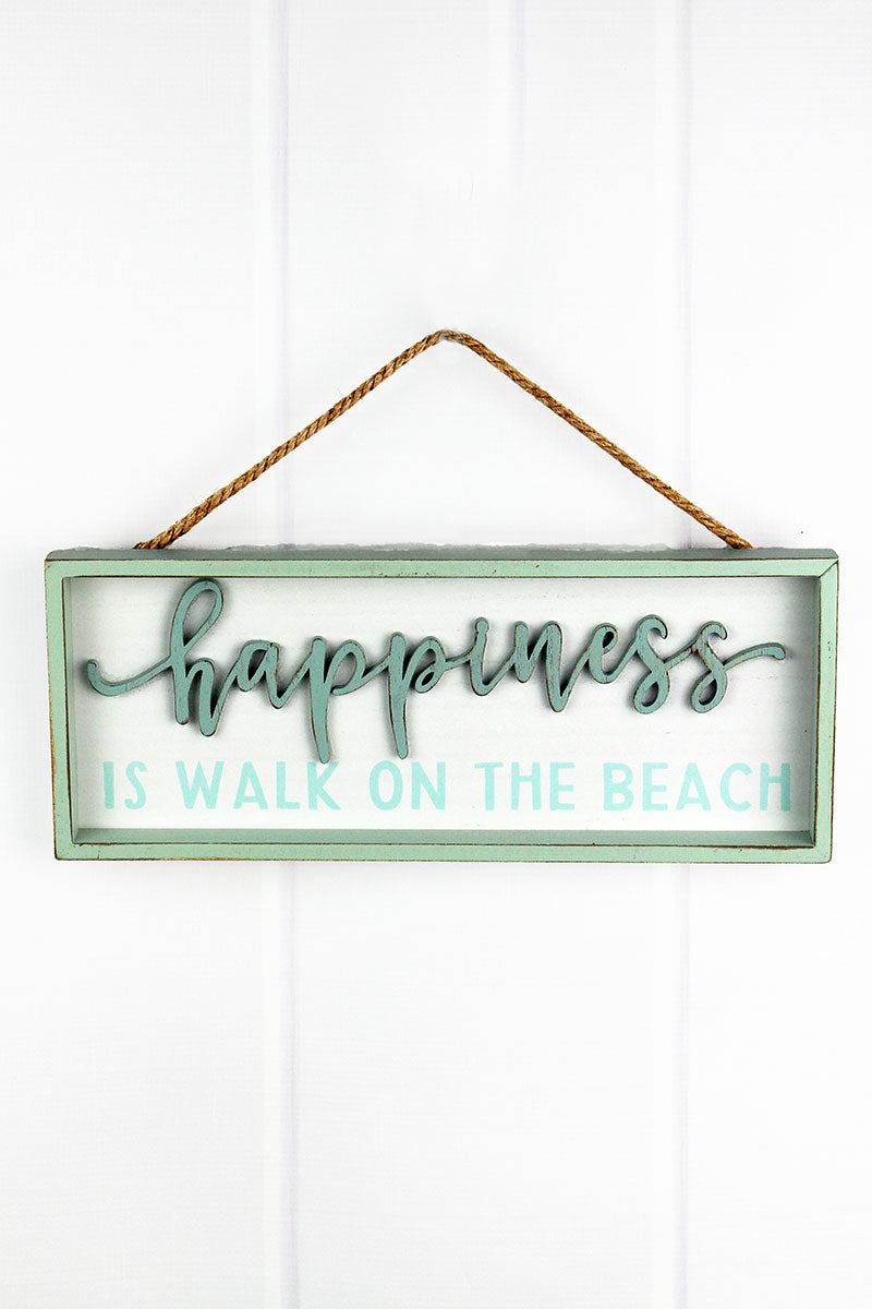 6 x 15 'Happiness Is Walk On the Beach' Wood Framed Wall Sign