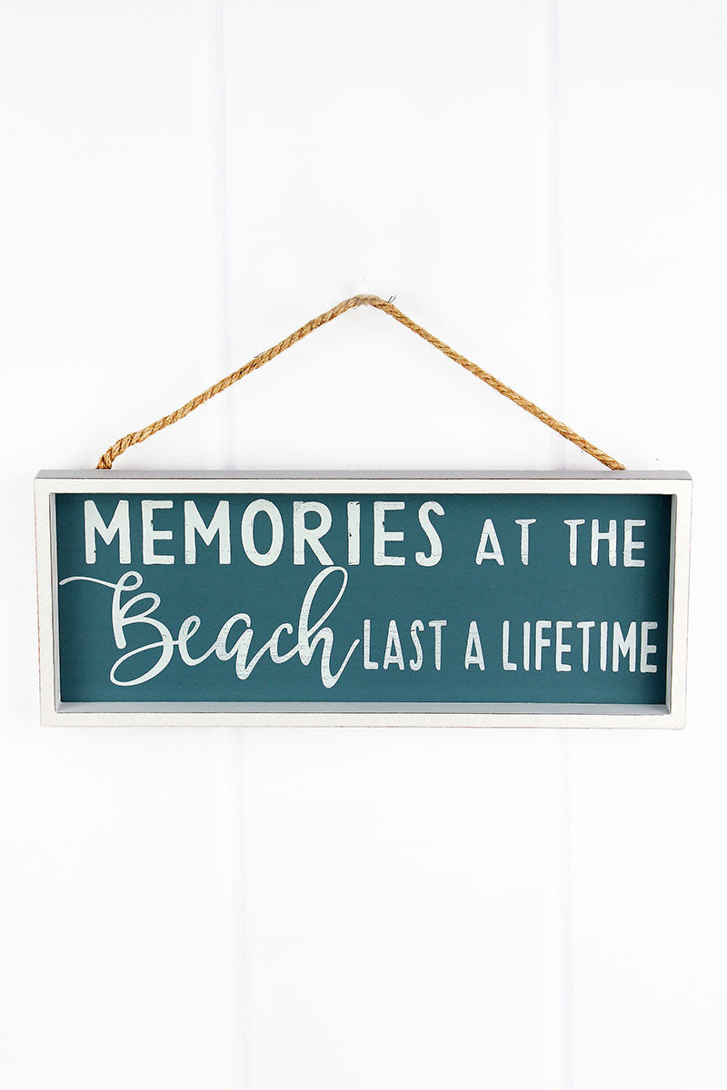 6 x 15 'Memories At The Beach' Wood Framed Wall Sign