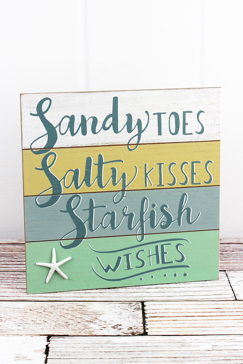 12 x 12 'Starfish Wishes' Wood Wall Sign