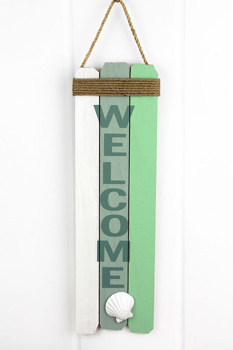 19.5 x 6 'Welcome' Seashell and Rope Accented Wood Wall Sign