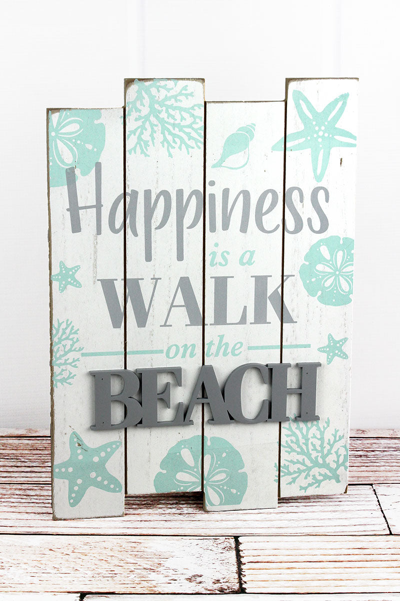 15.5 x 11 'Happiness Is A Walk On The Beach' Wood Wall Sign