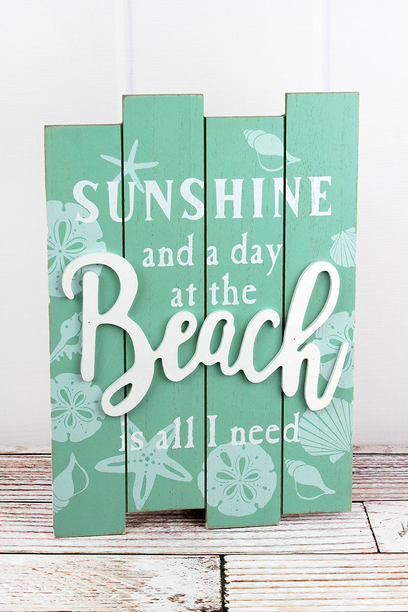 15.5 x 11 'Sunshine And A Day At The Beach' Wood Wall Sign