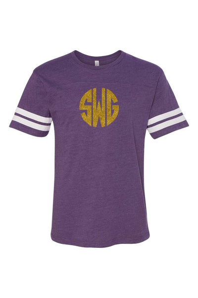 L.A.T. Adult Varsity Tee, Purple/White #6937 *Personalize It ()