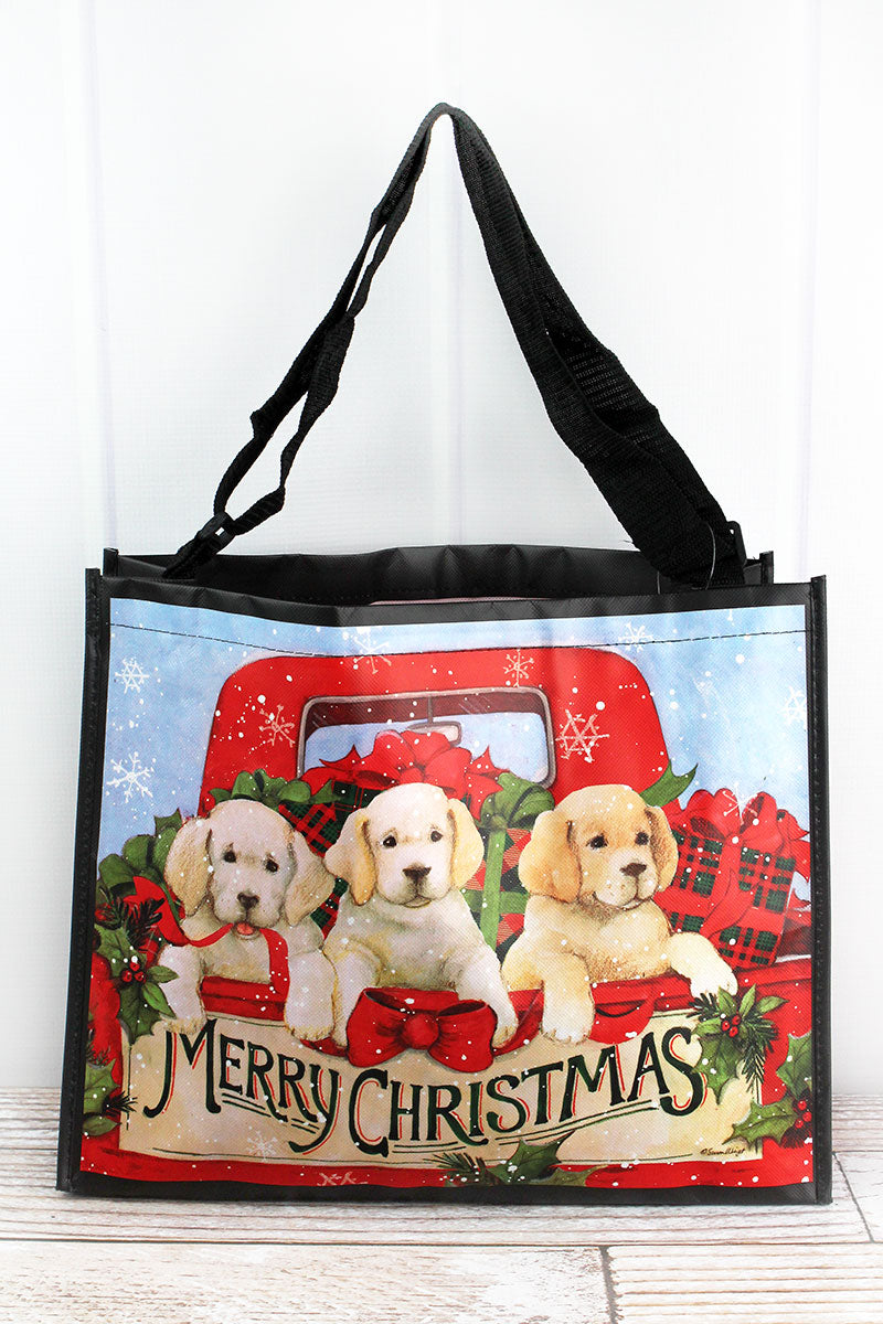 Festive Puppies Christmas Tote Bag