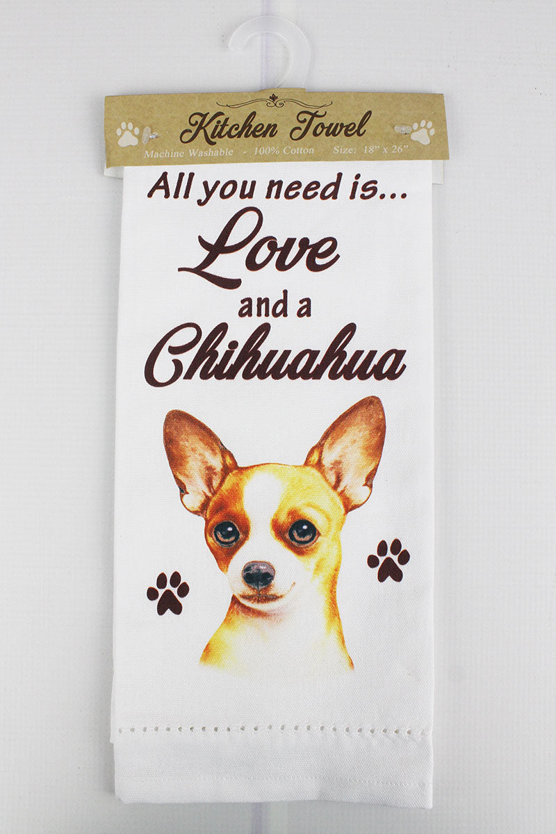 Tan Chihuahua 'All You Need Is Love' Kitchen Towel