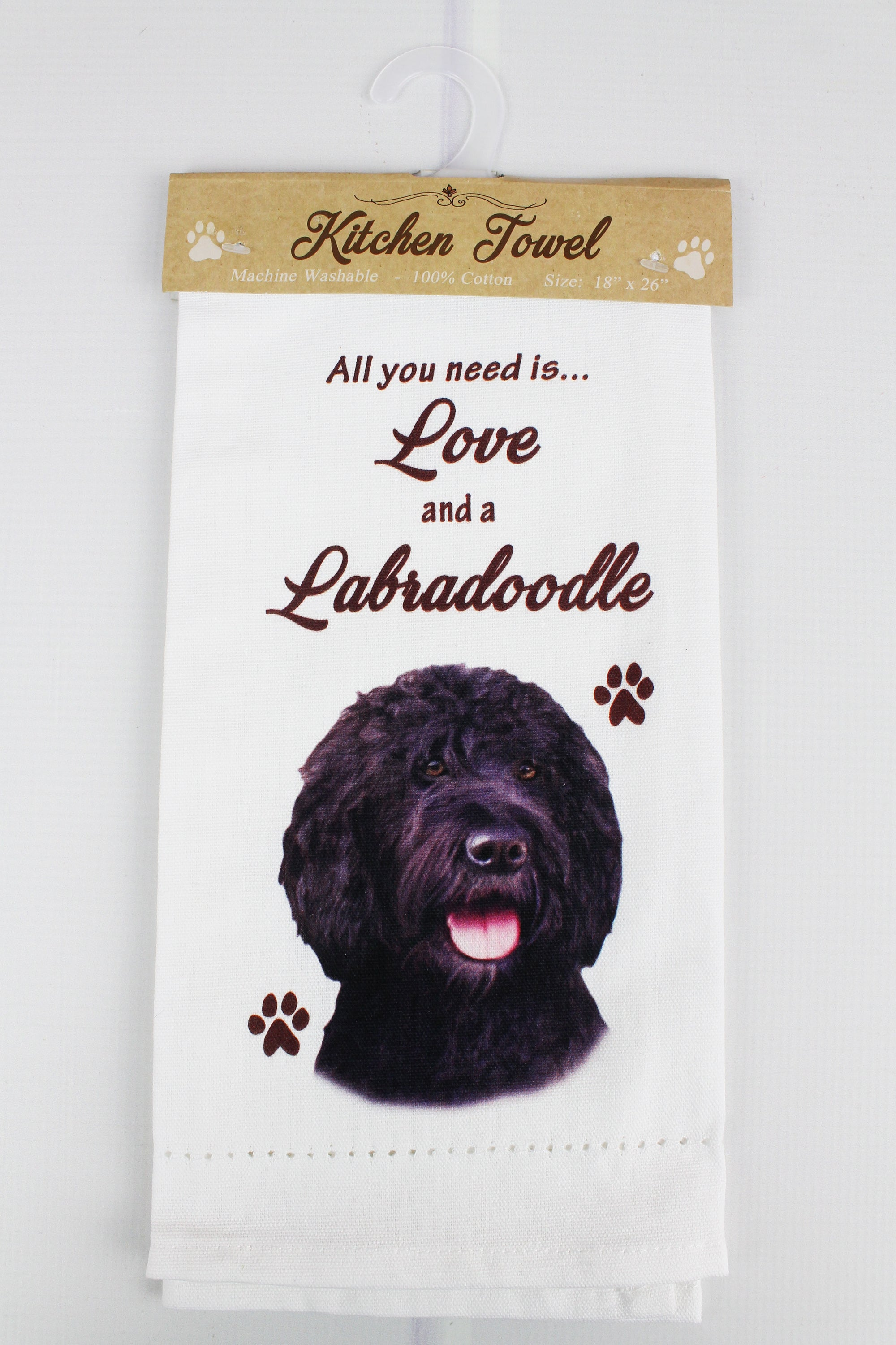 Black Labradoodle 'All You Need Is Love' Kitchen Towel