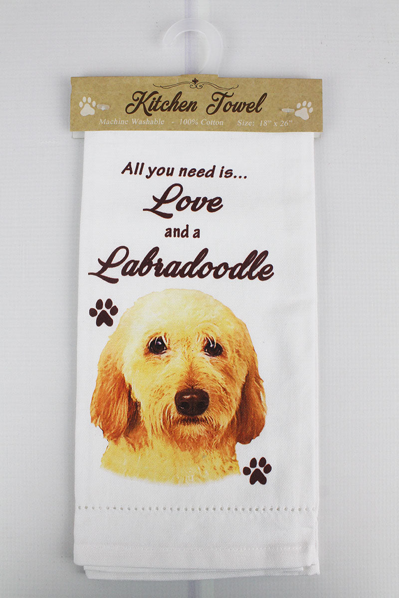 Cream Labradoodle 'All You Need Is Love' Kitchen Towel