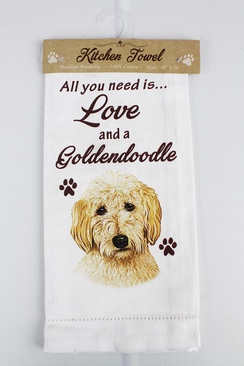 Goldendoodle 'All You Need Is Love' Kitchen Towel
