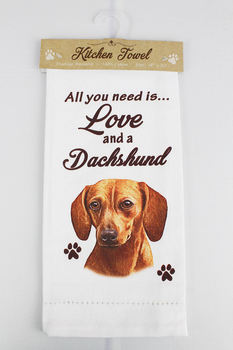Red Dachshund 'All You Need Is Love' Kitchen Towel