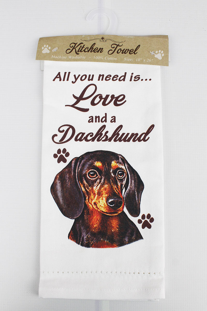 Black Dachshund 'All You Need Is Love' Kitchen Towel