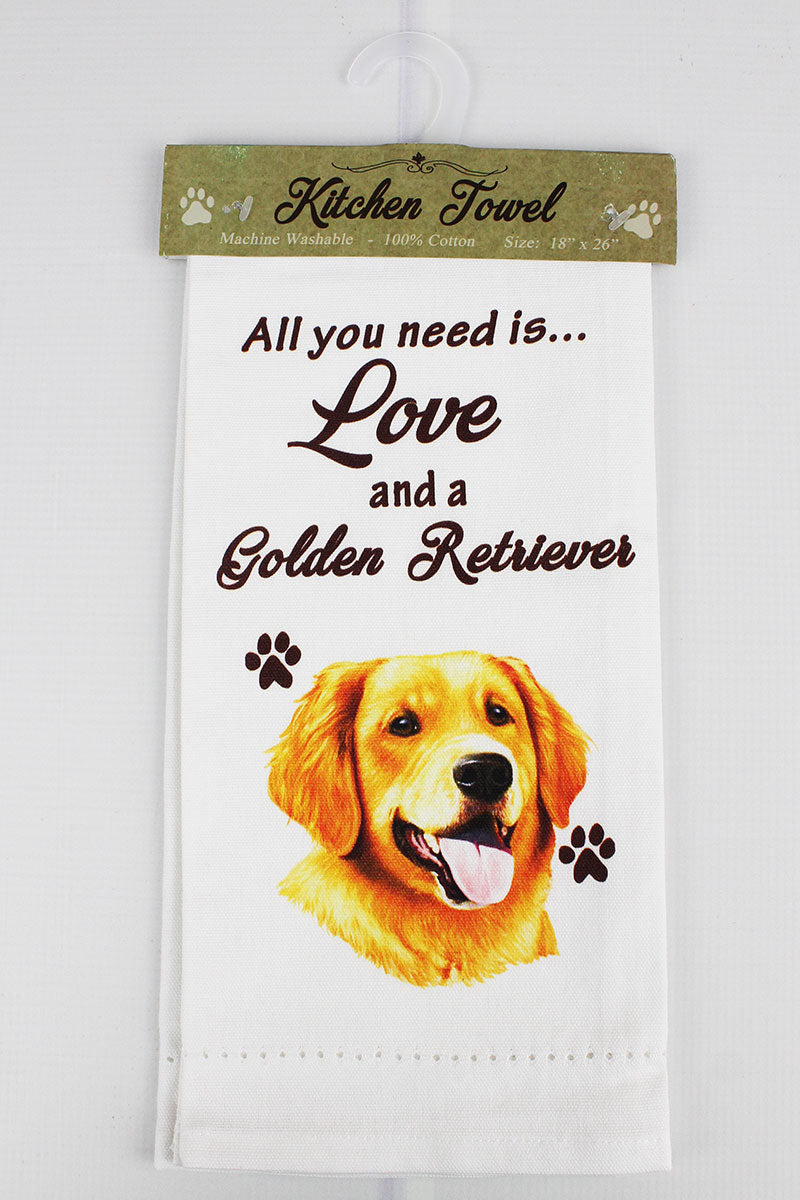 Golden Retriever 'All You Need Is Love' Kitchen Towel