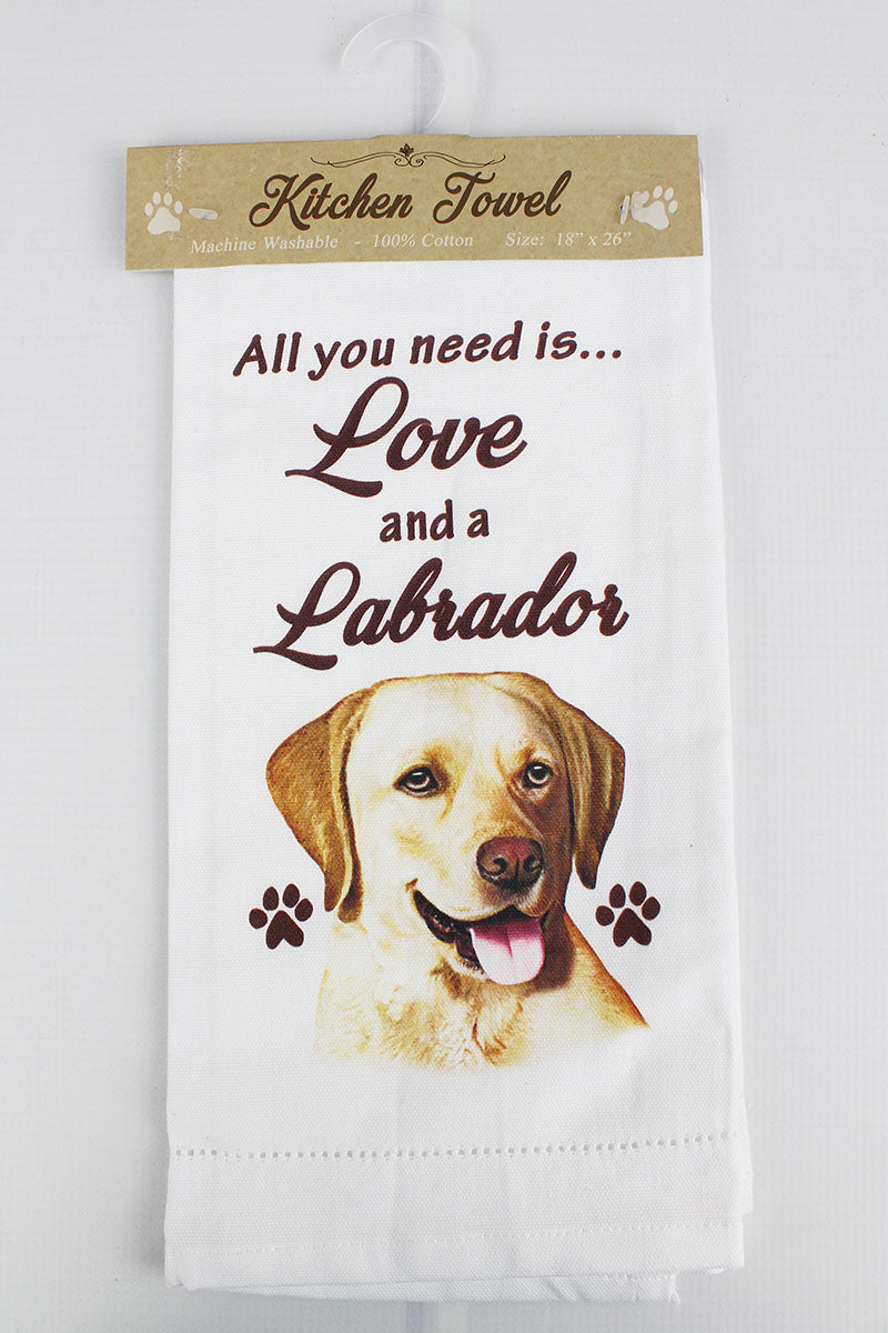 Yellow Labrador 'All You Need Is Love' Kitchen Towel