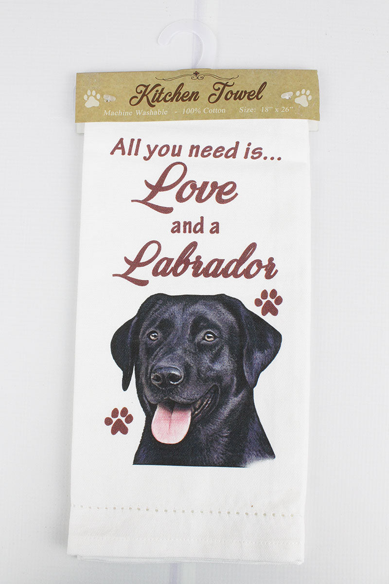 Black Labrador 'All You Need Is Love' Kitchen Towel