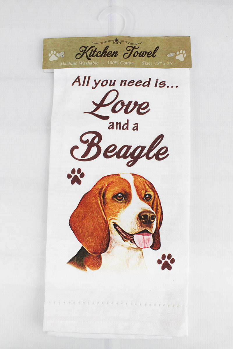 Beagle 'All You Need Is Love' Kitchen Towel