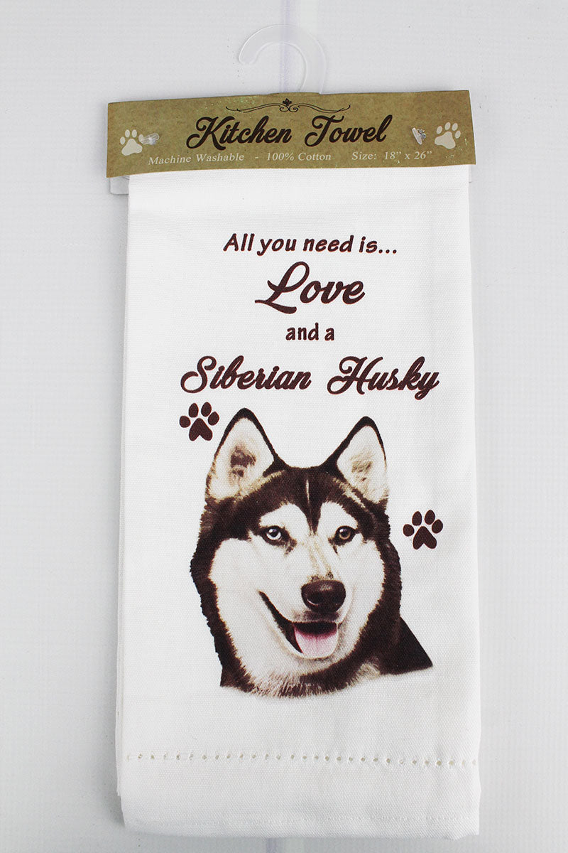 Siberian Husky 'All You Need Is Love' Kitchen Towel