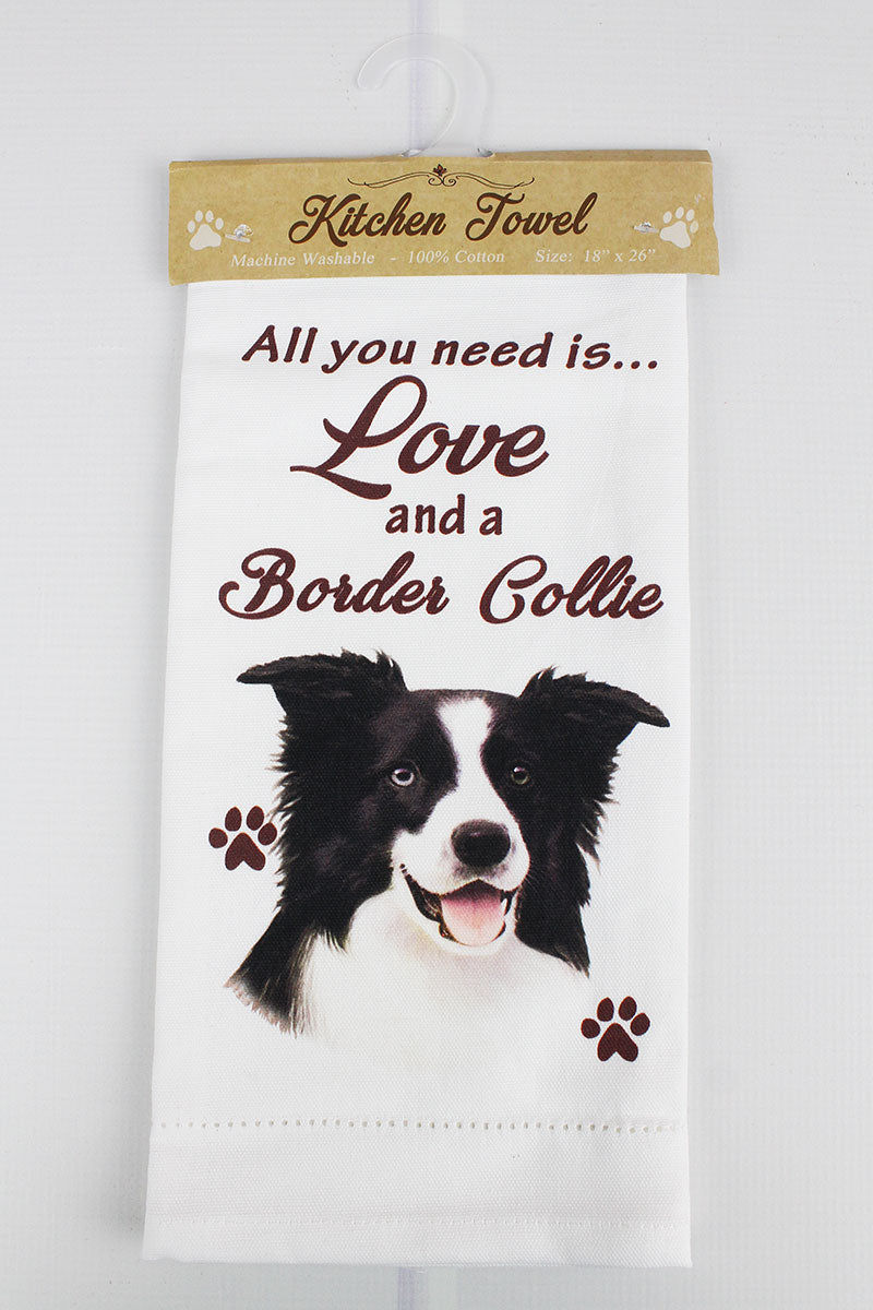 Border Collie 'All You Need Is Love' Kitchen Towel