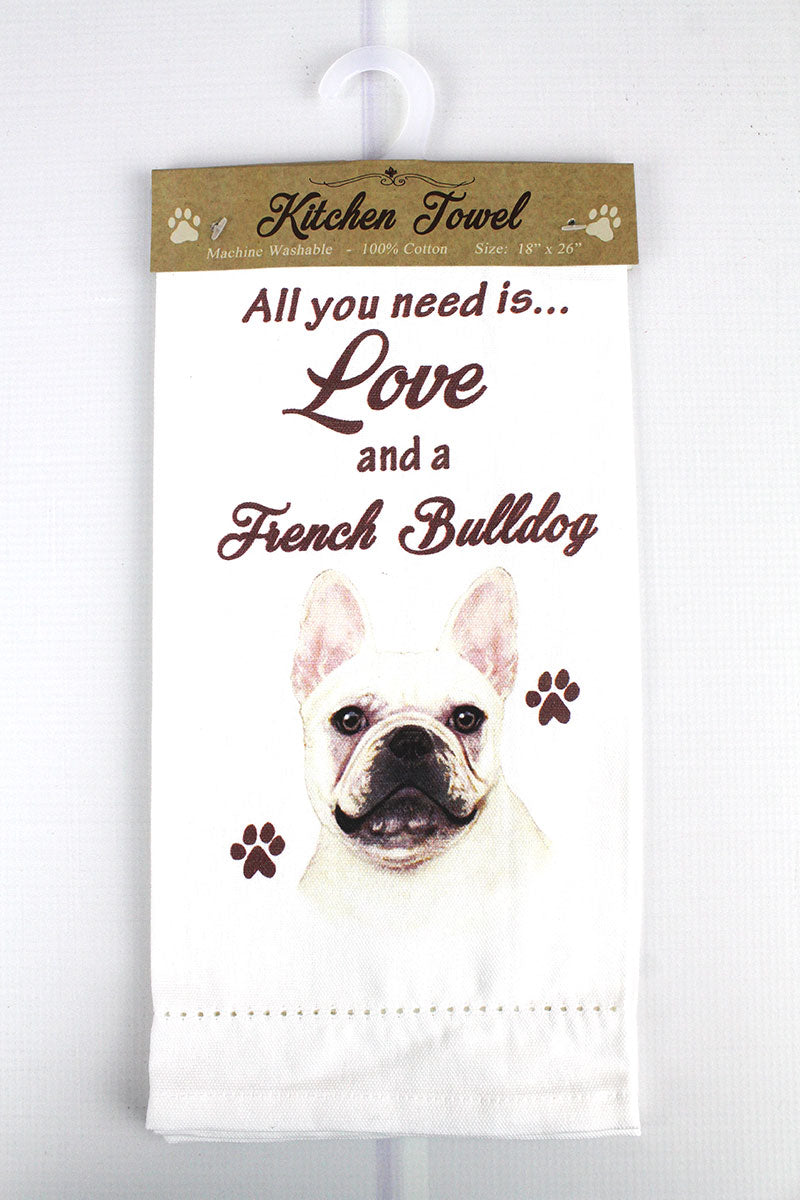 French Bulldog 'All You Need Is Love' Kitchen Towel