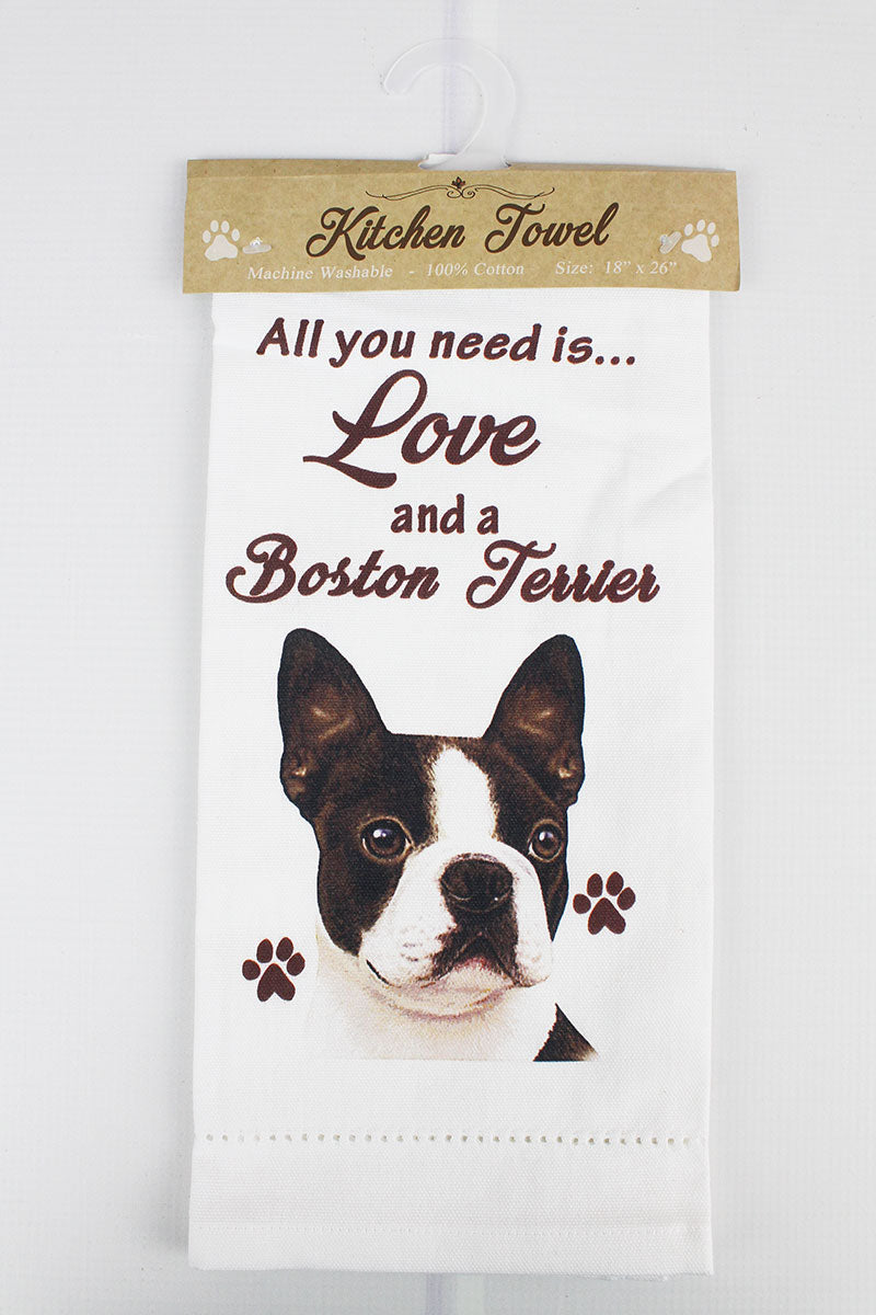 Boston Terrier 'All You Need Is Love' Kitchen Towel