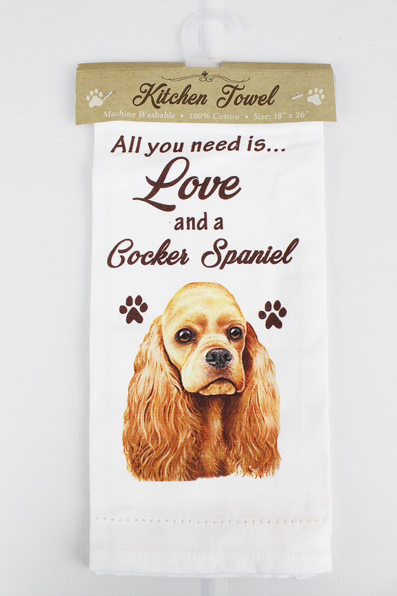 Cocker Spaniel 'All You Need Is Love' Kitchen Towel