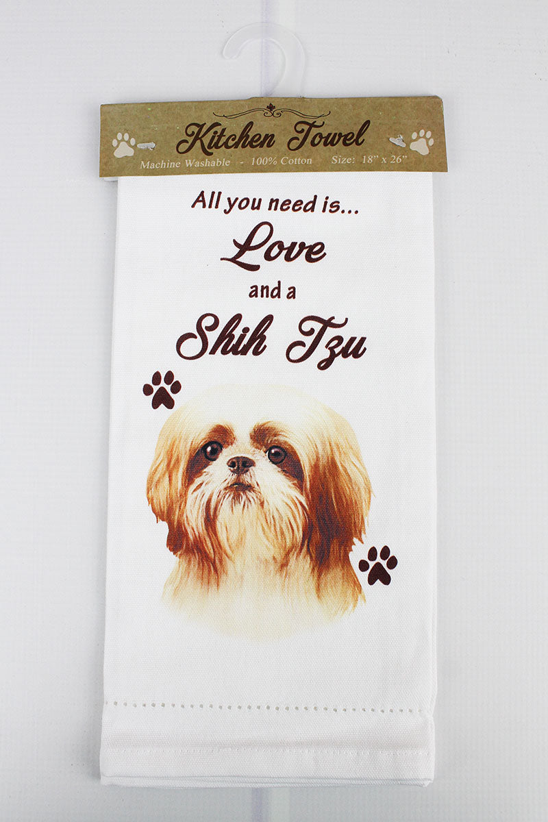 Shih Tzu 'All You Need Is Love' Kitchen Towel